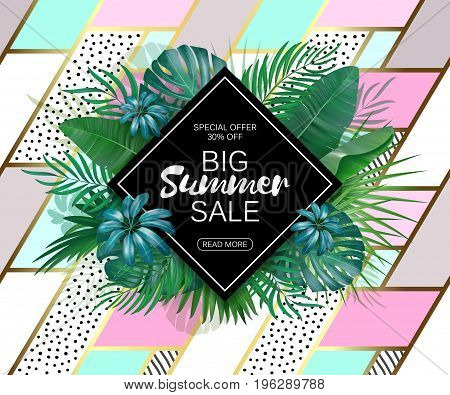 Summer sale background layout for banners, Wallpaper, flyers, invitation, posters, brochure, voucher discount. Vector illustration template. Patchwork backdrop with exotic leaves.
