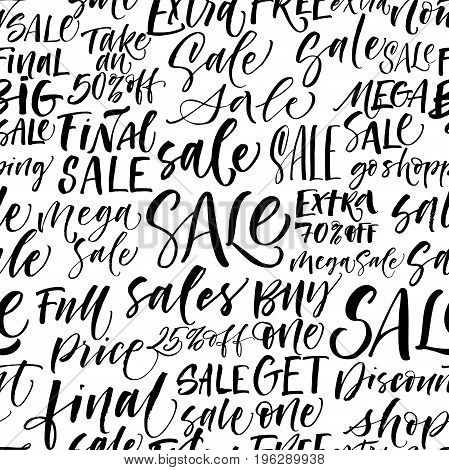 Seamless pattern of sales phrases. Sale go shopping final sale buy one get one free full price extra sale and others. Ink illustration. Hand drawn ornament for wrapping paper.