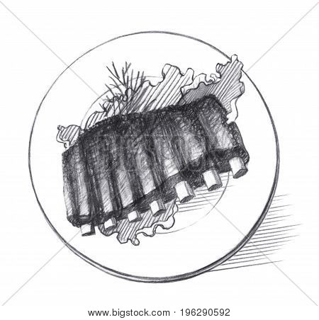 Fried pork ribs with lettuce leaves on a white plate. Graphic linear tonal drawing by slate pencil. Isolated on white background
