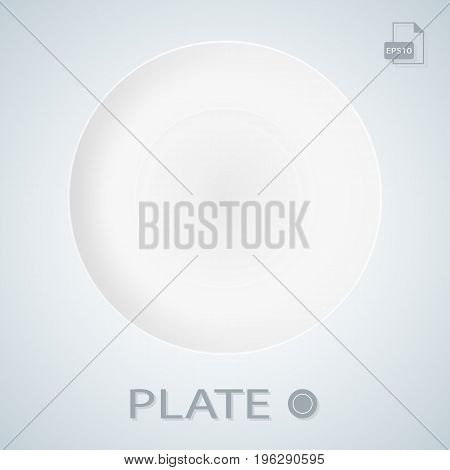 White Porcellan Plate Isolated On A Background. Vector.