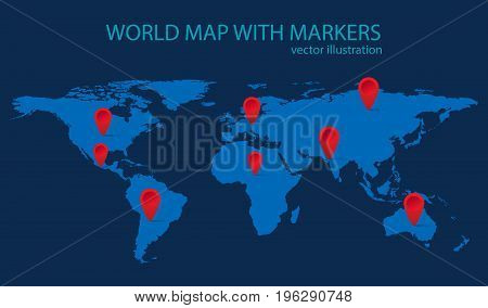 World map with red markers. Vector illustration.