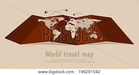 World travel folded map with airplanes. Vector illustration, flat design.