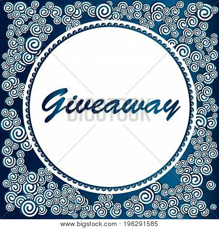 Giveaway banner, deep blue ahd white clouds, great for social media