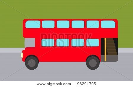 Double-decker flat red bus on the background of street in vector