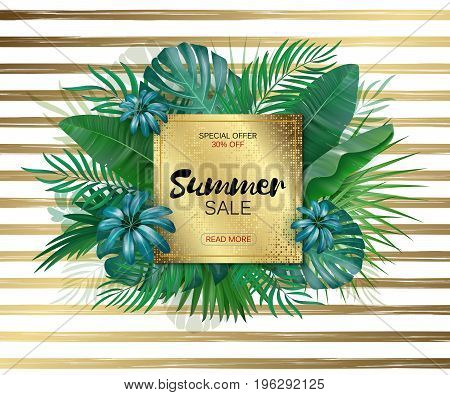 Sale. Round summer sale tropical leaves frame on gold striped backdrop. Tropical flowers, leaves and plants background