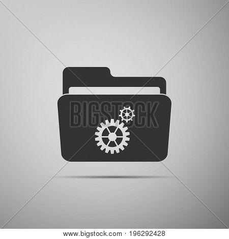 Settings folder icon isolated on grey background. Flat design. Vector Illustration