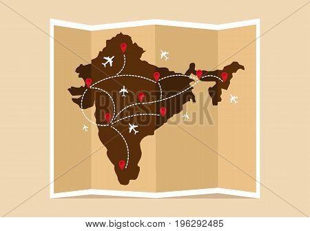 Travel and tourism map. Indian vintage world map. Vector illustration, flat design.