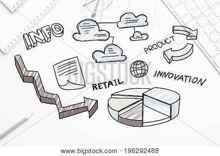 Business workplace with keyboard and marketing sketches