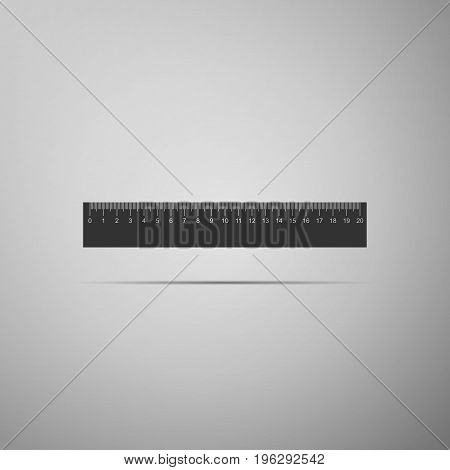 Straightedge symbol. Ruler icon isolated on grey background. Flat design. Vector Illustration