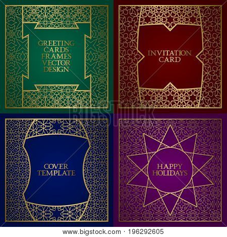 Greeting cards golden frames set. Vintage design of template in indian traditional style.