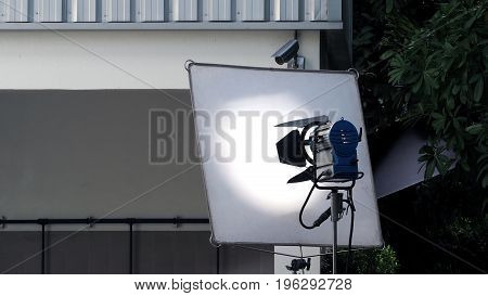 Big Studio Light And Tripod For Outdoor Movie Shooting.
