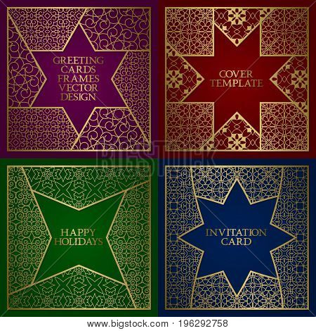 Greeting cards golden frames set. Vintage design of template in oriental style.