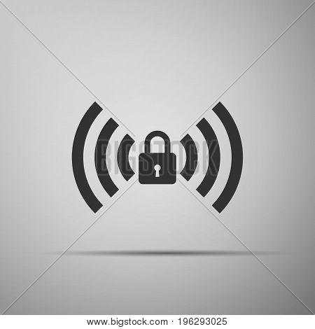 Wifi locked sign icon isolated on grey background. Password Wi-fi symbol. Wireless Network icon. Wifi zone. Flat design. Vector Illustration