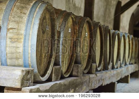 Wine storage in old wood barrels in cellar