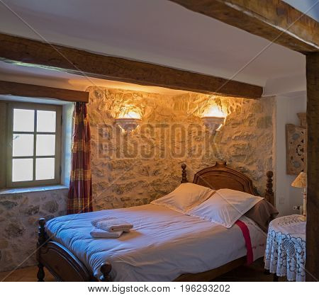 Typical Provence Village Hotel (b&b) Room Interior. France