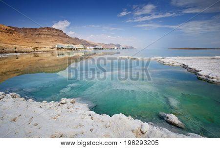 Salt deposits typical landscape of the Dead Sea Israel.