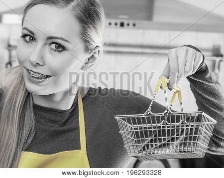Woman Hand Holding Small Tiny Shopping Basket