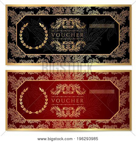 Voucher, Gift certificate, Coupon template. Floral, scroll pattern (frame). Background design for invitation, ticket, banknote, money design, currency, check (cheque). Black, gold vector