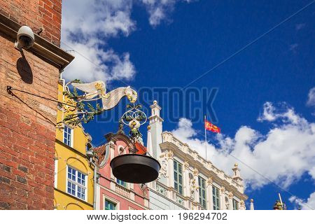 Old oil lamp on the city hall of Gdansk, Poland