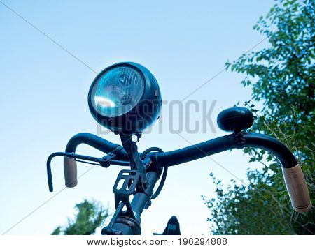 Detail of old bicyclein the summer time
