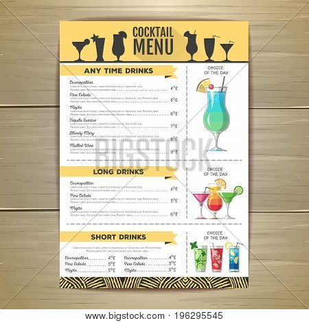 Flat cocktail menu design. Document template. Corporate identity