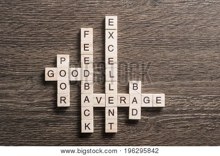 Words of computer and connection concepts collected in crossword with wooden cubes