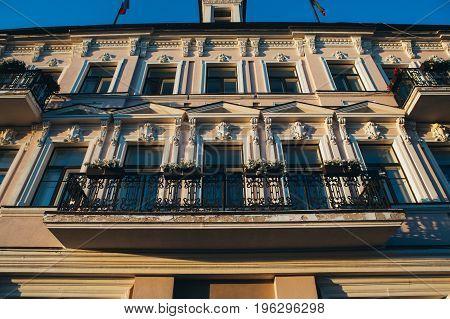 beautiful building with vintage elements balcony Kazan.
