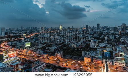 Cityscape And Light Of Night Road