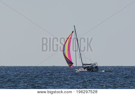 YACHT - Yacht under sail at sea