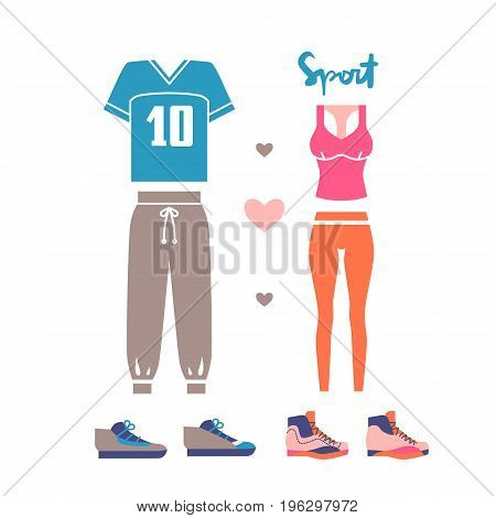 Sportswear for man and woman. T-shirt pants and sneakers isolated on white background. Vector illustration eps 10