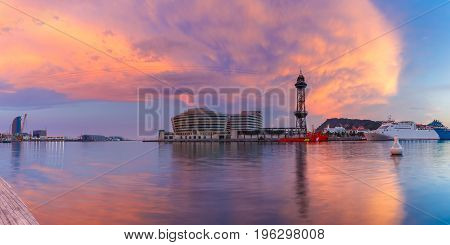 Panoramic view of superb sunset in Port Vell in Barcelona, Catalonia, Spain.