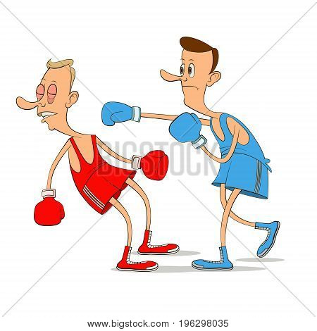 two men boxers boxing, vector cartoon illustration