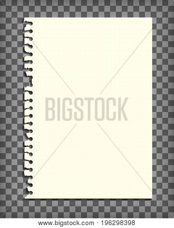 Empty notebook page with torn edge. Blank paper pulled out of sketchbook. Notepaper mock up. Graphic design element for text, advertisement, doodle, sketch, scrapbooking. Realistic vector illustration