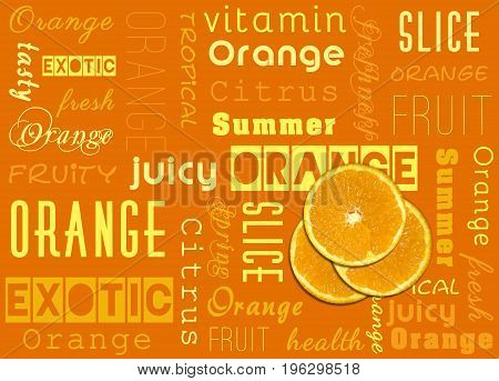 Summer illustration: Slices of a fresh orange fruit with yellow and orange text typography.