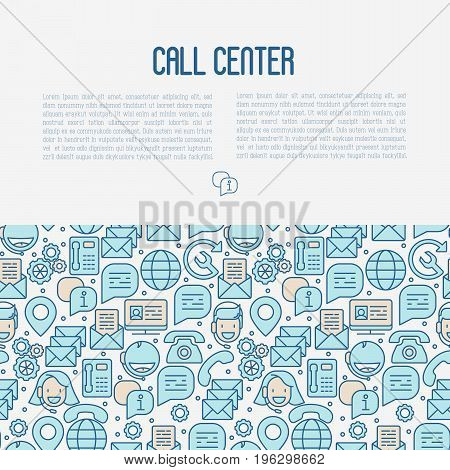 Support service concept contains seamless pattern with thin line call center or customer service icons. Vector illustration for banner, web page of call center.