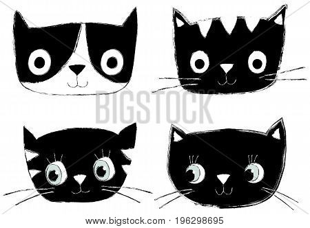 Set of cute black and white vector cat heads and faces with hand drawn look