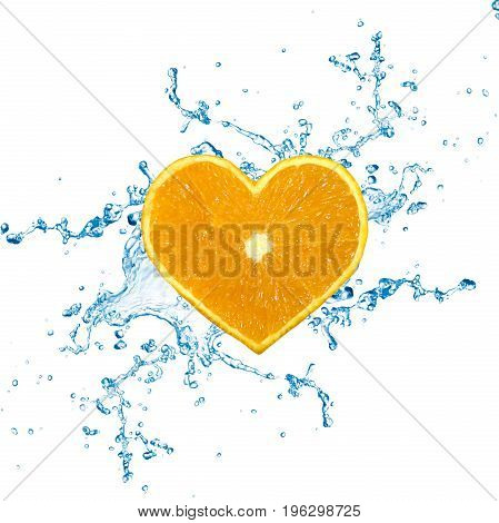 A heart shaped 3D illustration: orange fruit with water splashes on a white background.