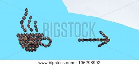 Coffee beans lined in the form of mug with an arrow and with a fragrant drink on blue background. Coffee cup icon and arrow icon. Creative design for banners flyers posters pointer template etc.