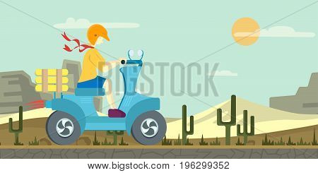 Pizza delivery on a scooter. Man driving a moped in the desert landscape. Vector illustration, isolated on white background.