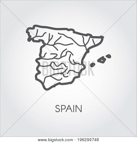 Icon in linear style of contour map of Spain country. Graphic pictograph for geography, cartography, education projects and other design needs. Vector illustration