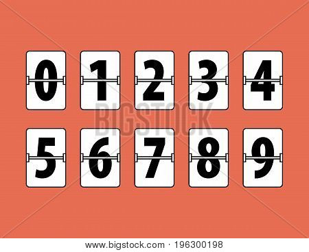 Flip Clock Numbers Flat Style. Flip Clock Numbers on red background. All in a single layer. Vector illustration. Elements for design.
