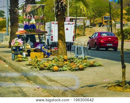 GUAYAQUIL, ECUADOR, NOVEMBER - 2016 - Typical street fuirts vendor at avenue in Guayaquil outskirts Ecuador