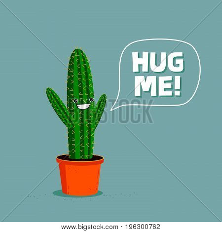 Funny cartoon cactus asking to be hugged. Cute character illustration