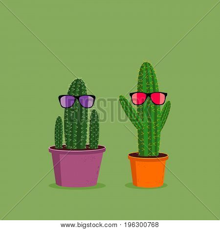 Two funny cartoon cacti wearing sunglasses on green background. Cute character illustration