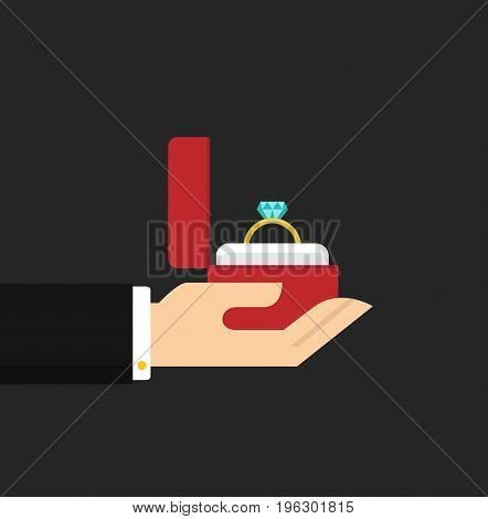 Men's hand holds a jewelry box with a wedding ring. Make a marriage proposal. Wedding concept. Vector stock.
