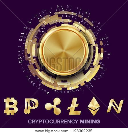 Mining Cryptocurrency Concept Vector. Bitcoin, Litecoin, Ethereum, Ripple, Namecoin, Peercoin Futuristic Money Fintech Blockchain Cryptography