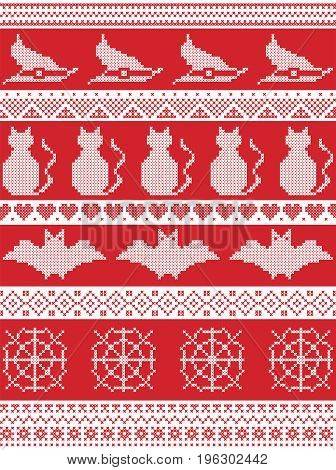Scandinavian cross stitch, Nordic culture  and traditional American holiday  inspired seamless Halloween pattern with witch hat, spider web, heart shape, cat, and decorative ornaments in red, white