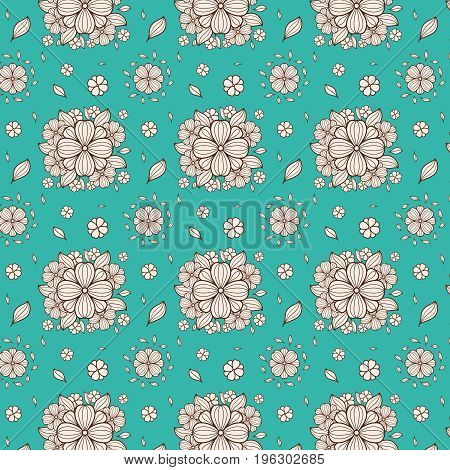 Vector flower seamless pattern. Simple flower print. Floral cute doodle background. Hand drawn elegant nature ornament for fabric.