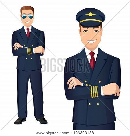 Pilot of Commercial Airlines In Uniform / Vector illustration of affable airplane pilot full-lenght