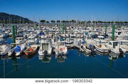 Yachts Moored In Marina Port Of Hondarribia. Basque Country, Spain.